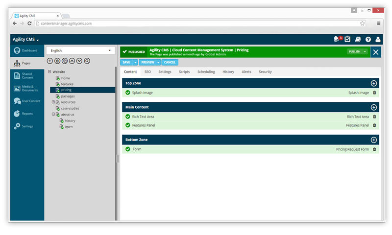 New Interface for Agility CMS