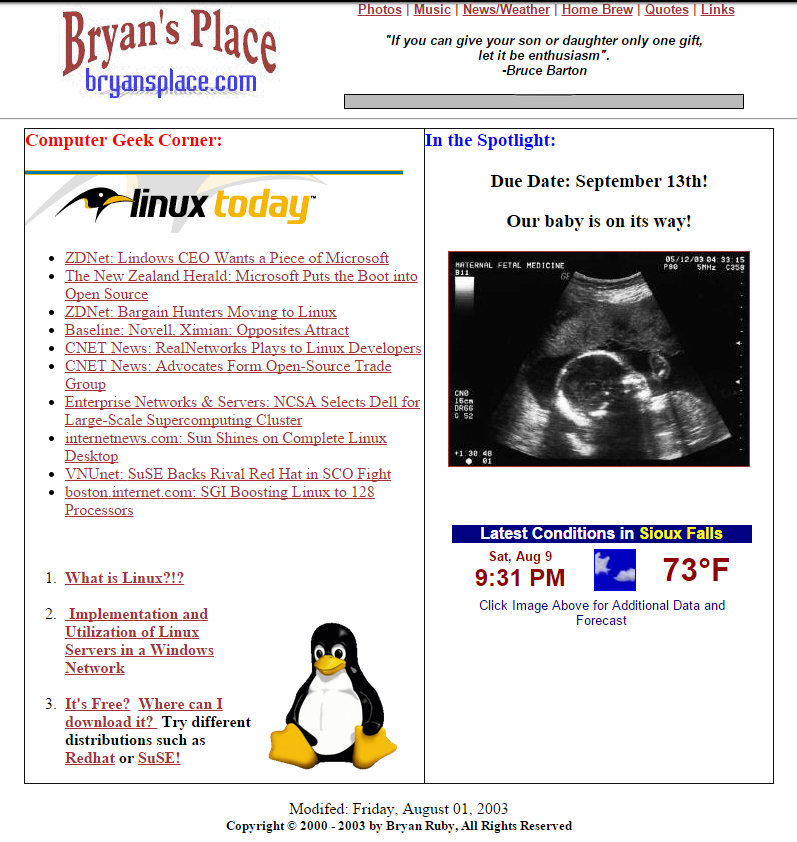 Image of Bryansplace.com from around 2003