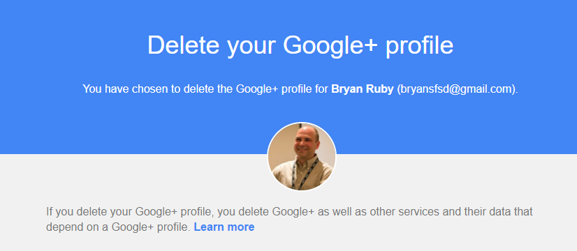 Deleting a Google Plus Profile