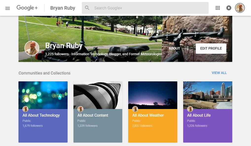 Screenshot of Google Plus Profile for Bryan Ruby