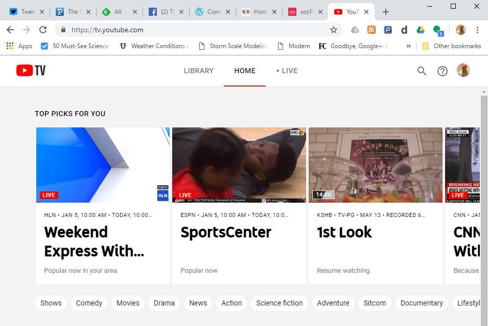 Screenshot of my view of YouTube TV