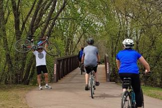 Bryan Ruby showing off on the Sioux Falls Bicycle Trail - Photo Courtesy of Janice Maldonado