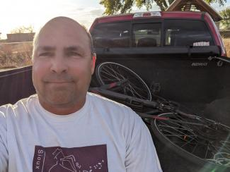Bryan Ruby on his last ride for the Great Cycle Challenge 2020