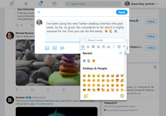 New Twitter Web Interface: Composing a new tweet plus emojis