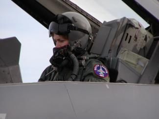Karen Ruby getting ready in the F-16 2-seater